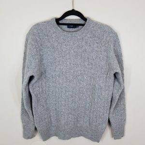 J Crew 100% Lambs Wool Crewneck Grey Sweater